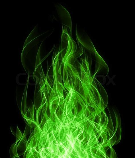 Best Home Decoration by Green Toxic Fire Flame On Black Background Stock Photo