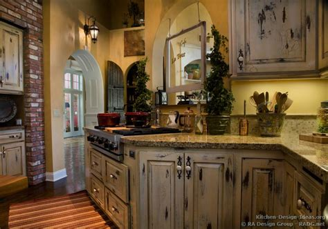 Country Kitchen With White Cabinets Country Kitchen Cabinets With An Antique White Crackle Finish