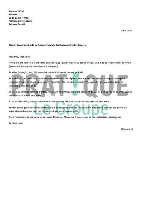 Lettre Demande De Visite D Entreprise lettre de demande d aide financi 232 re pour le bafa au comit 233 d entreprise pratique fr
