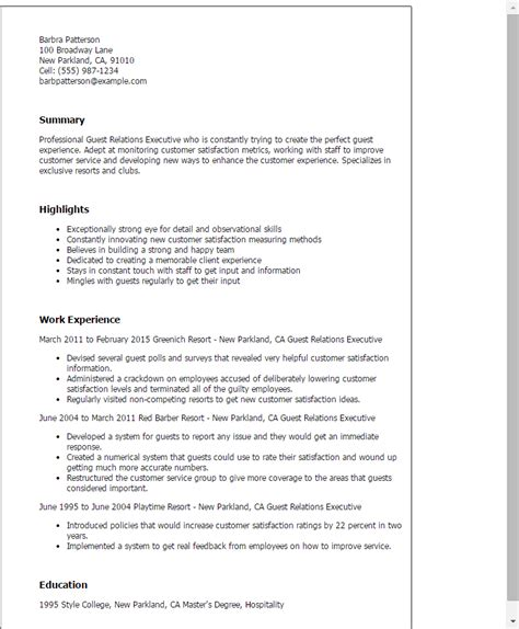 professional guest relations executive templates to