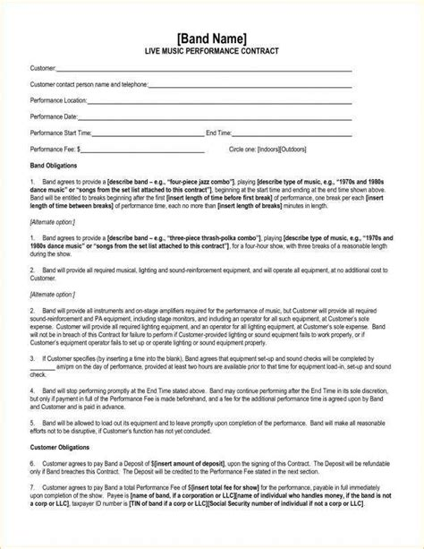 performance contract template performance agreement template free performance