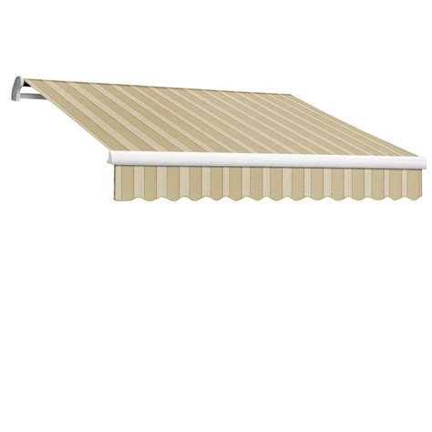 remote control awnings shop awntech 144 in wide x 120 in projection linen almond white stripe slope patio