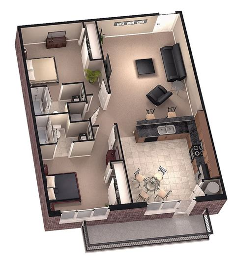two bedroom tiny house tiny house floor plans brookside 3d floor plan 1 by