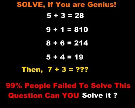 pattern math riddles find if 5 3 28 then 7 3 only for genius math puzzles