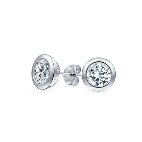 mens cz martini set bezel sterling silver stud earrings