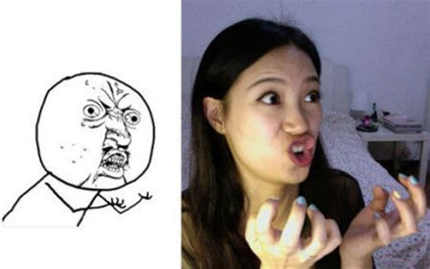 girl making meme faces  pics