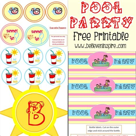 beach labels for party snacks summer beach party pool summer pool party free printable