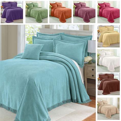 blue bed spread greenhome123 100 percent cotton chenille bedspread in