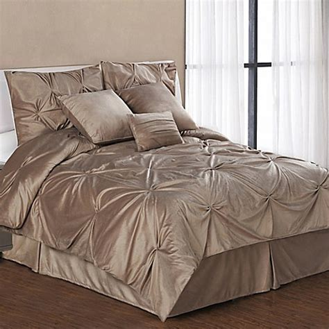 buy pintuck plush 7 piece queen comforter set in camel