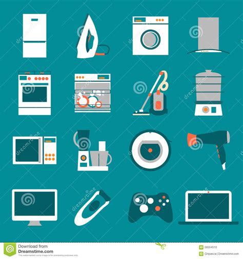 flat design home icon set modern flat design icons of home appliances stock