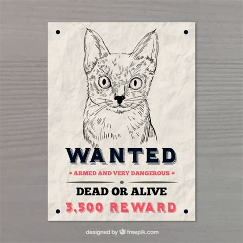 vector cat poster a3 wanted poster with cat vector free