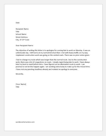 info apology letter due tardiness video