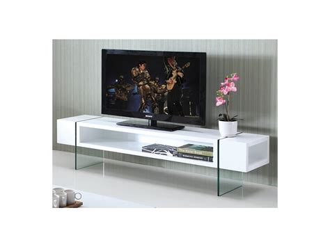 Meuble Tv Verre by Meuble Tv Mdf Laqu 233 Et Verre Tremp 233 Blanc