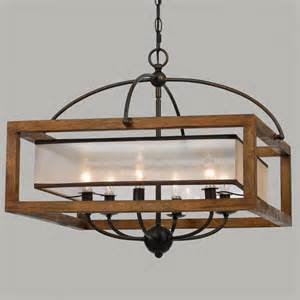 modern rustic light fixtures square wood frame and sheer chandelier 6 light nooks