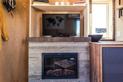 tiny house fireplace farallon by tumbleweed tiny house company tiny living