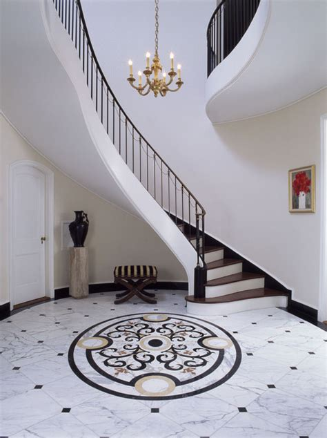 Circle Dining Room Table by Entry Stair Hall With Marble Floor Traditional Entry