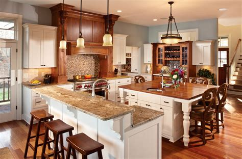 large square kitchen island allow extra room for dining with a large kitchen islands