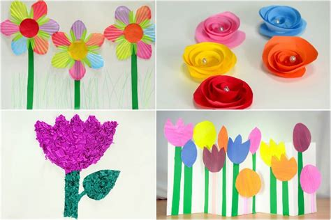 Paper Flower Craft For Preschoolers - paper flower craft for children preschool crafts