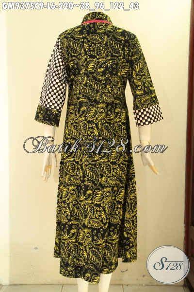 gamis batik model resleting depan  elegan  berkelas
