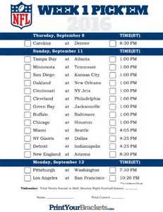 Nfl Office Football Pool Sheets Printable Nfl Week 1 Schedule Em Office Pool 2016