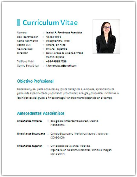 Plantillas De Curriculum Vitae En Word Simple Curr 237 Culum Vitae En Word Plantillas Formatos Y Ejemplos Para Descargar