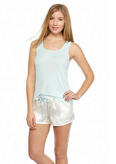 Linea Donatella linea donatella bridal knit tank and satin boxers pajama