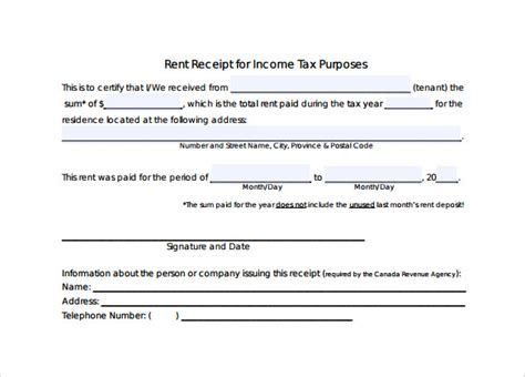 Rent Receipt Form Income Tax by 8 Rent Receipt Form Templates For Free Sle