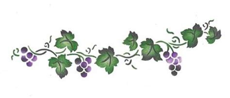 simple grape border wall stencil