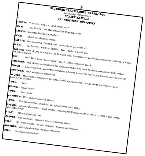 murder mystery dinner scripts mystery script murder stage right