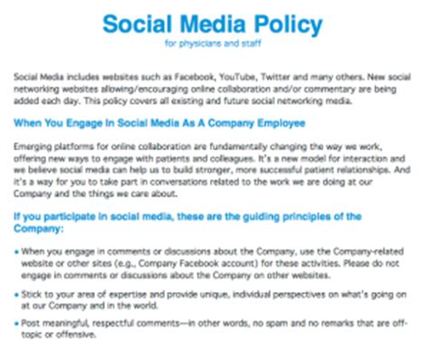 Healthcare Social Media Policy For Physicians And Staff Social Media Policy Template For Enforcement
