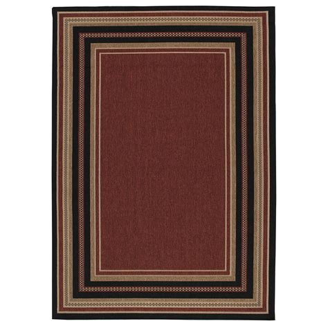 Hton Bay Border Chili Red And Beige 7 Ft 7 In X 10 Ft Hton Bay Outdoor Rugs