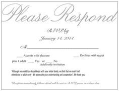 wedding invitations no children rsvp card i like the for accepts and the note about no adults only wedding