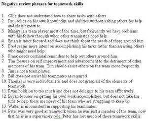Free performance evaluation key phrases employee evaluations
