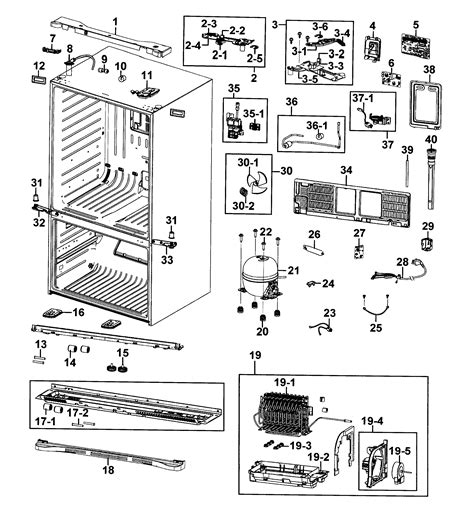 samsung refrigerator parts diagram cabinet diagram parts list for model rf4287harsxaa0001
