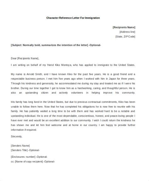 Immigration Letter Of Reference Sle Character Reference Letter 8 Free Documents In