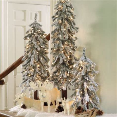 grandin roadtrees christmas artificial martha stewart pre lit flocked alpine tree traditional trees by grandin road