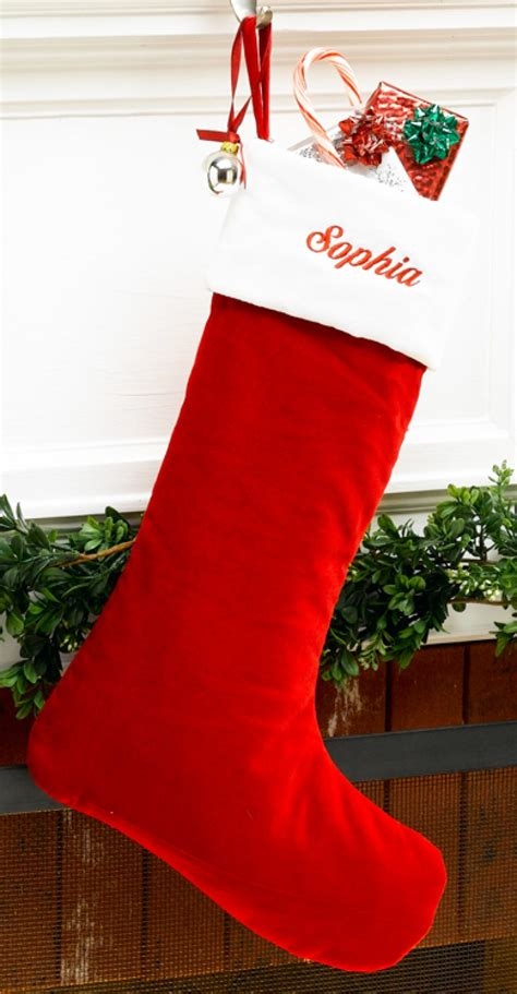 christmas stockings red velvet personalized christmas stocking with white