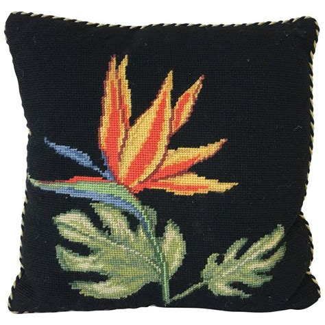 1920s deco black needlepoint pillow with birds of