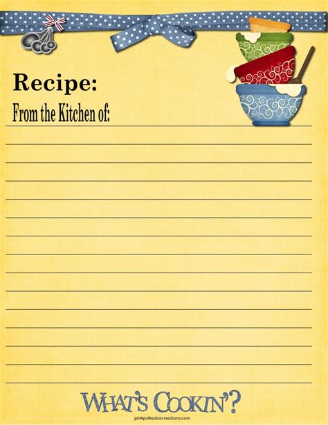 page from the kitchen of recipe card template recipe cards pink polka dot creations
