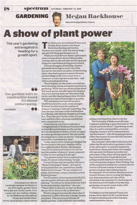 Garden Answer Age The Age Saturday A Show Of Plant Power