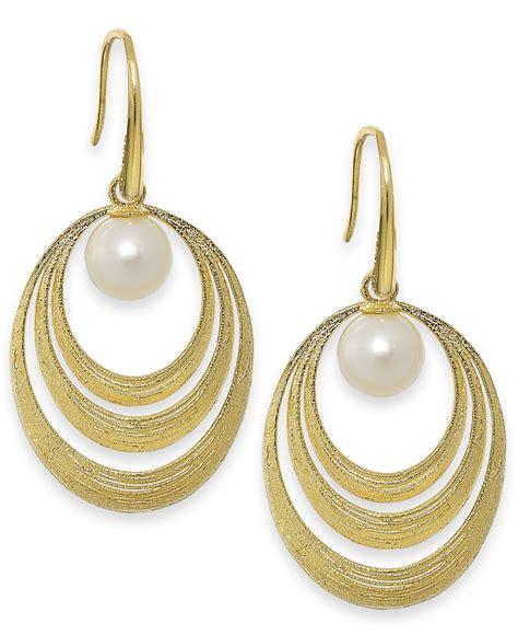 macy s cultured freshwater pearl circle earrings in 18k