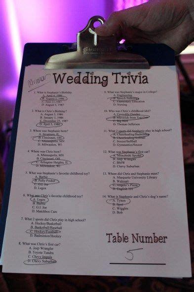 trivia cards for wedding reception 17 best ideas about wedding reception program on wedding reception tables wedding