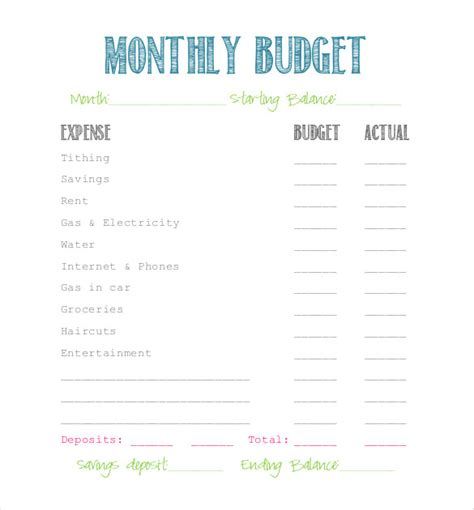 simple budget template 10 free word excel pdf