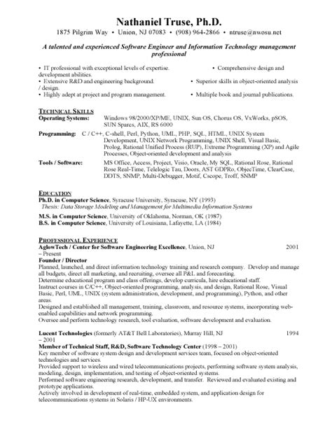 Resume Format For Software Engineer by Best Resumes For Freshers Engineers