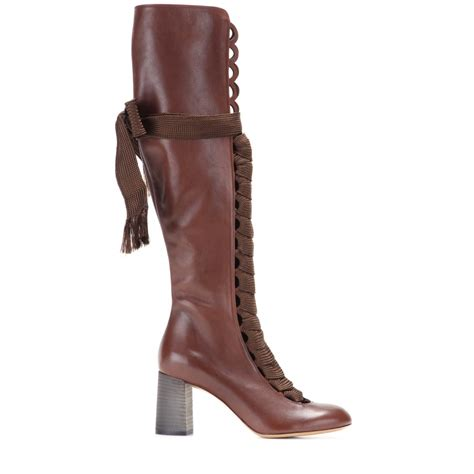 brown knee high boots lyst chlo 233 knee high leather lace up boots in brown