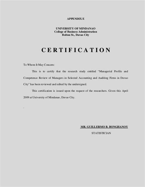 certification letter for grammarian managerial competence review for manager in selected