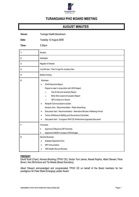 format for minutes of meeting template 11 minutes of meeting format a cover letters