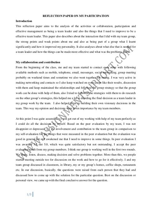 Reflection Essay Sles individual reflective report