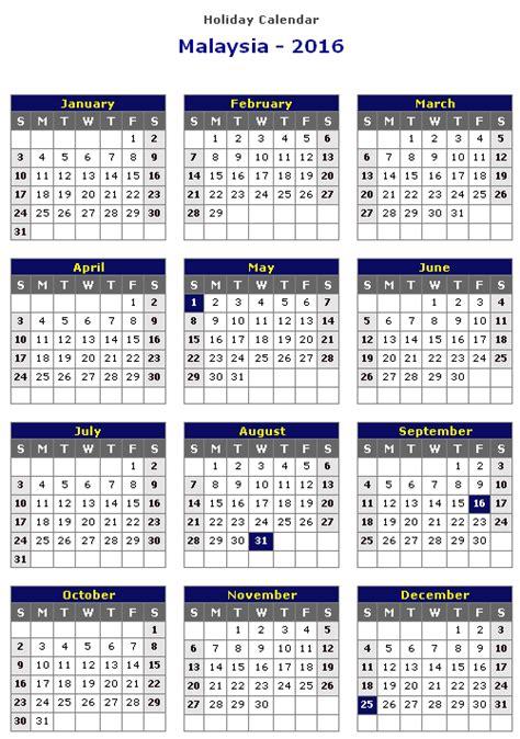 printable calendars with holidays 2016 2016 holiday calendar malaysia calendar template 2016
