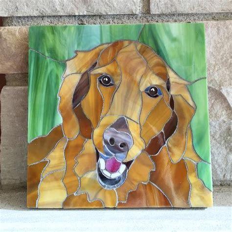 golden retriever stained glass pattern golden retriever stained glass mosaic portrait delphi artist gallery